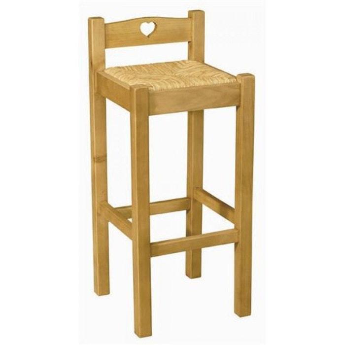 chaise de bar en pin massif avec coeur assise paille pays teint miel couleurs des alpes la. Black Bedroom Furniture Sets. Home Design Ideas