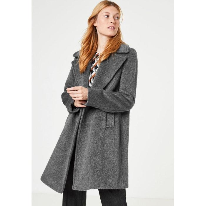 a433c675a46f Manteau court duveteux doté d un col à revers mélange gris moyen ...