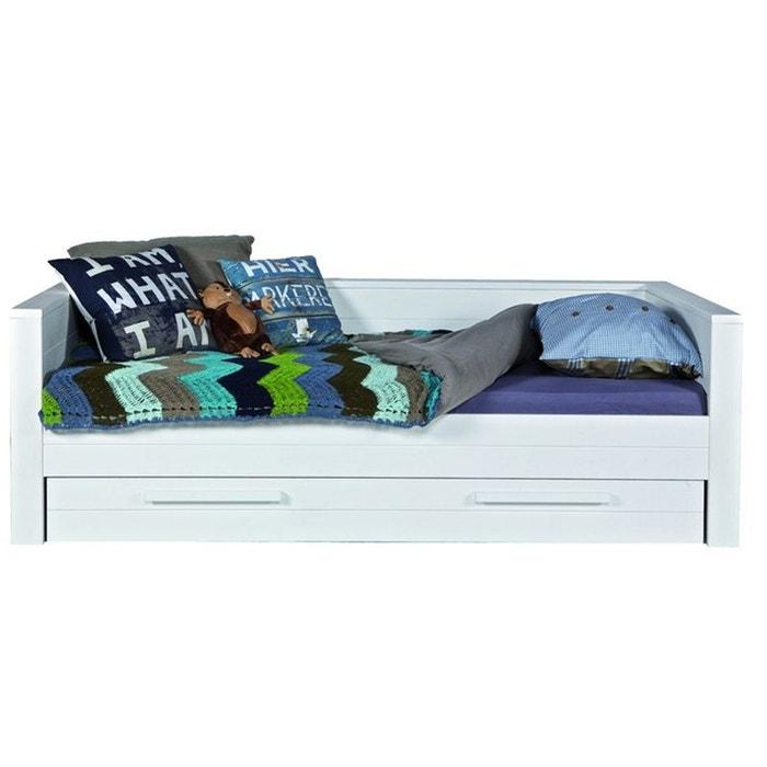 lit enfant sofa bois massif 90x200 blanc aaron blanc alfred et compagnie la redoute. Black Bedroom Furniture Sets. Home Design Ideas