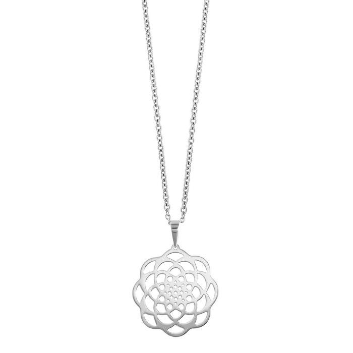 7993c6024b5 Collier réglable  43 à 47 cm pendentif fleur acier argenté So Chic Bijoux