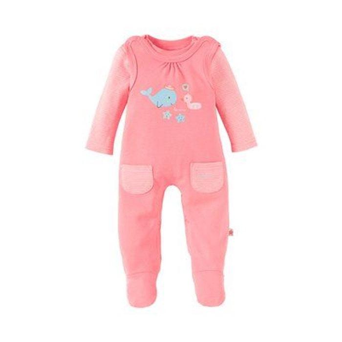 Bornino ensemble grenouillère bébé ensemble bébé écru rayé rose vif Bornino   acfffd1f27d