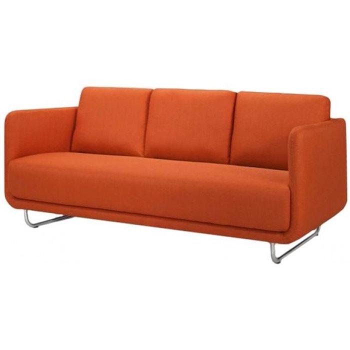 Canap 3 places june design orange pieds metal bross declikdeco la redoute - La redoute canape convertible 3 places ...