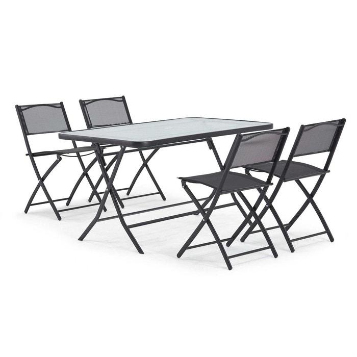 Table de jardin et 4 chaises pliantes en acier et verre, calvi ...