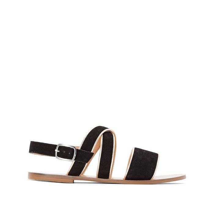 afbeelding Platte leren sandalen met metallic detail MADEMOISELLE R