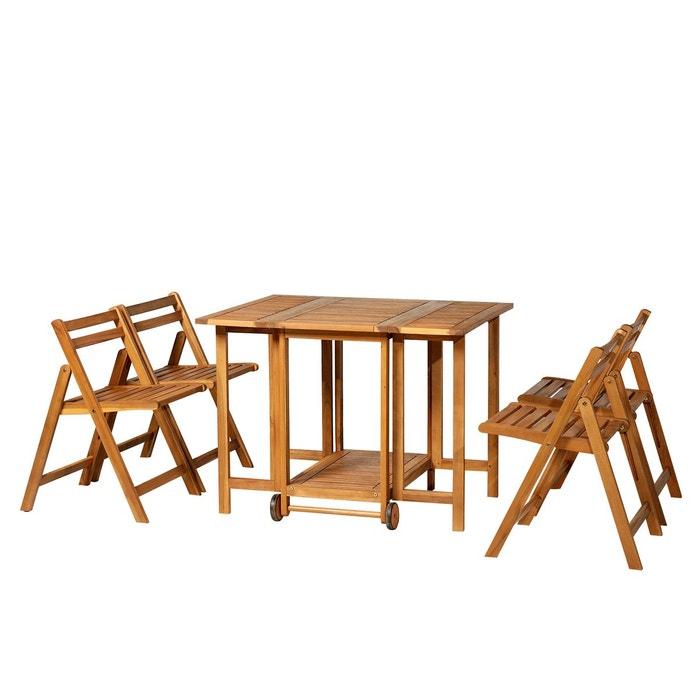 Salon de jardin 4 pers. table à manger + 4 chaises pliables acacia