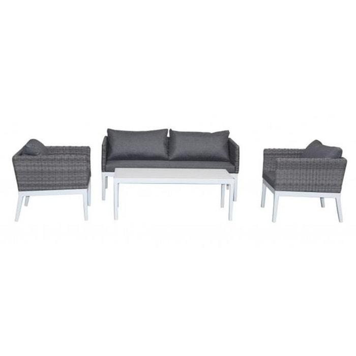 Salon de jardin en aluminium et résine tressée gris kapi gris ...