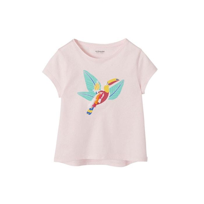 T-shirt fille motif toucan à pompons