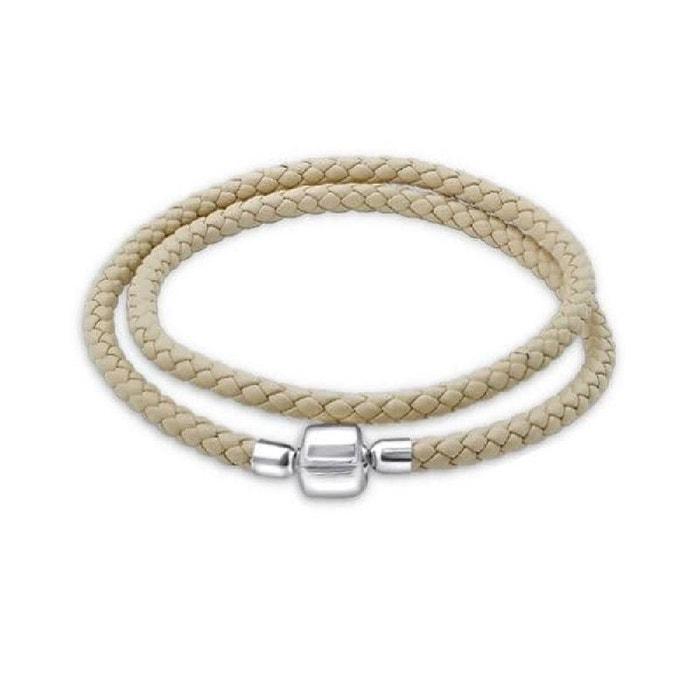 Style De Mode Pas Cher En Ligne De Nombreux Types De Ligne Bracelet double tour 38 cm pour charms cuir beige ecru argent 925 Libre Rabais D'expédition GReld7