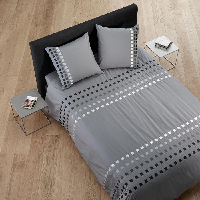housse de couette coton square gris moyen gris moyen madura la redoute. Black Bedroom Furniture Sets. Home Design Ideas