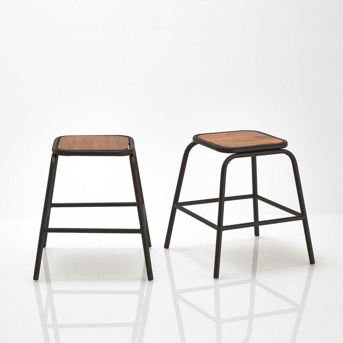 Tabouret style industriel hiba lot de 2 noir la redoute - Table hiba la redoute ...