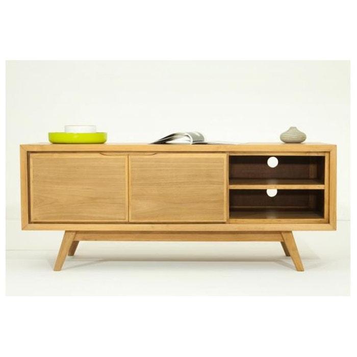 meuble tv matteo 2 portes en teck massif marron declikdeco. Black Bedroom Furniture Sets. Home Design Ideas