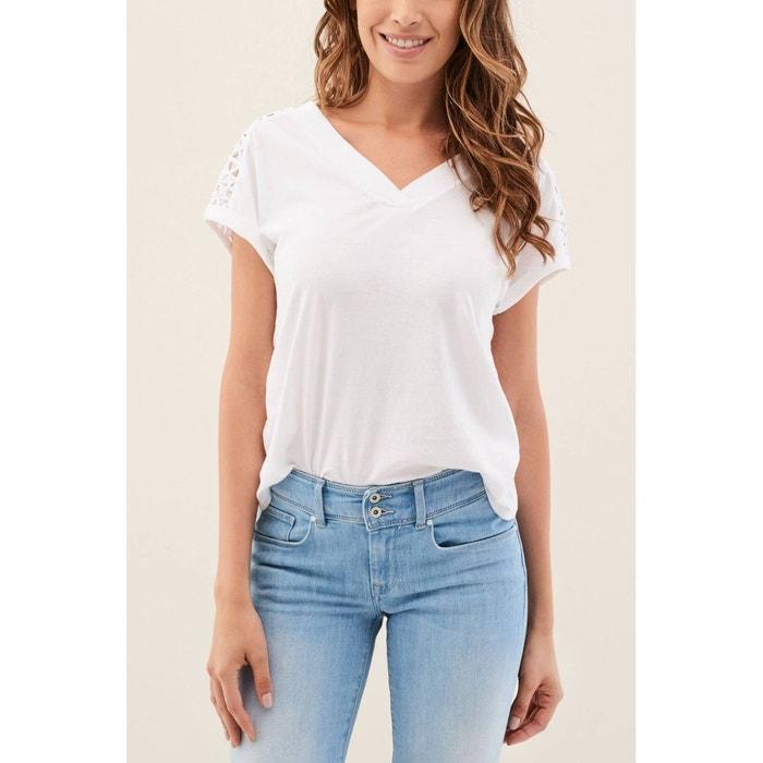 Dans Le Dos La Dentelle Redoute Avec T Salsa Blanc Shirt tqpw1qg
