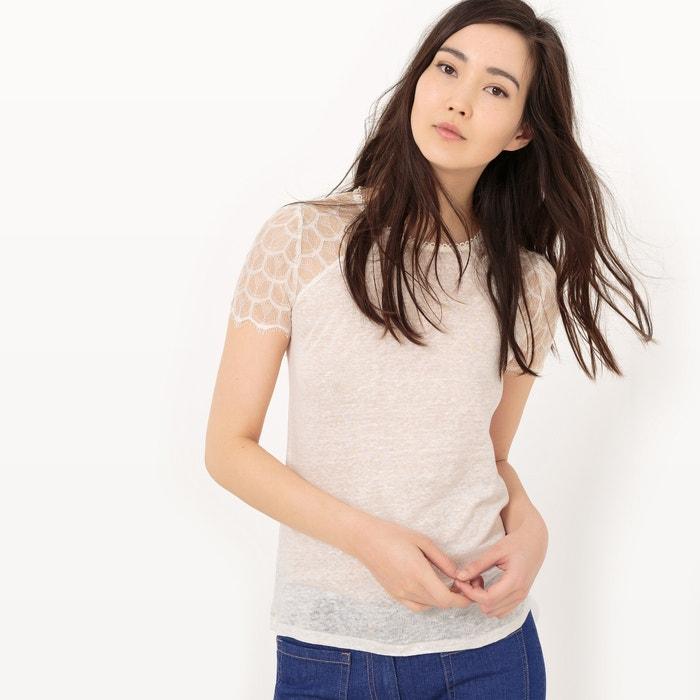 Image T-shirt romantica pizzo e lino MADEMOISELLE R