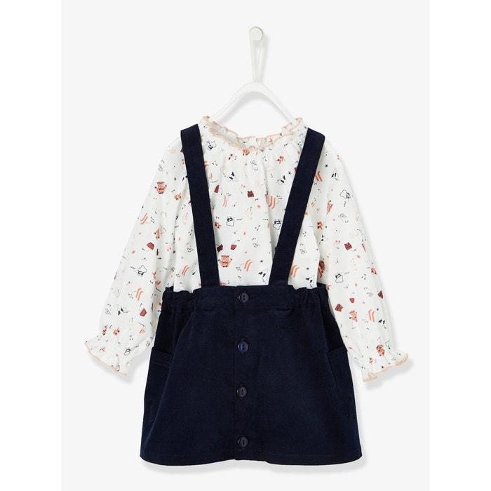 47f2667f9d3f8 Ensemble blouse imprimée + jupe velours à bretelles bébé fille blanc  imprimé Vertbaudet