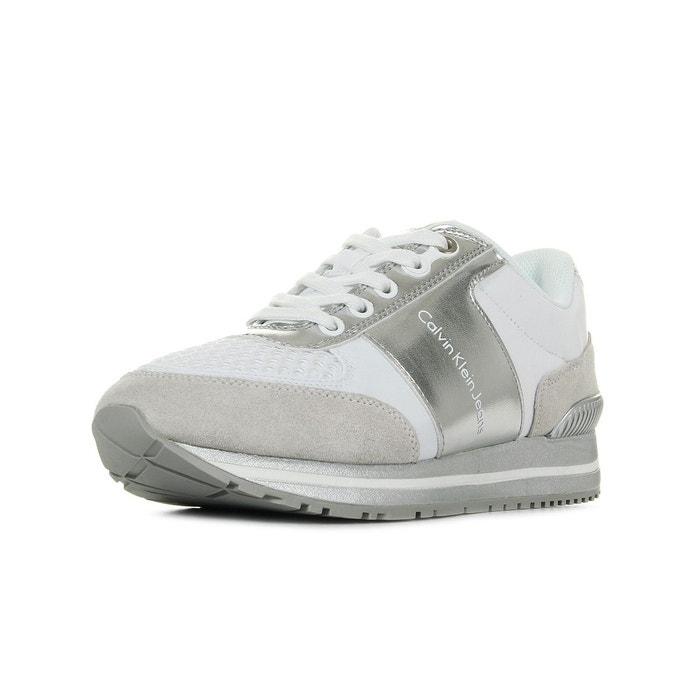 Baskets femme tanya white silver blanc/gris Calvin Klein Obtenir Authentique Prix Pas Cher ecZ93LoIYE