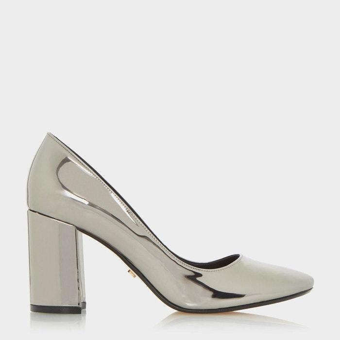 Round toe block heel court shoe - acapela étain synthetic Dune London