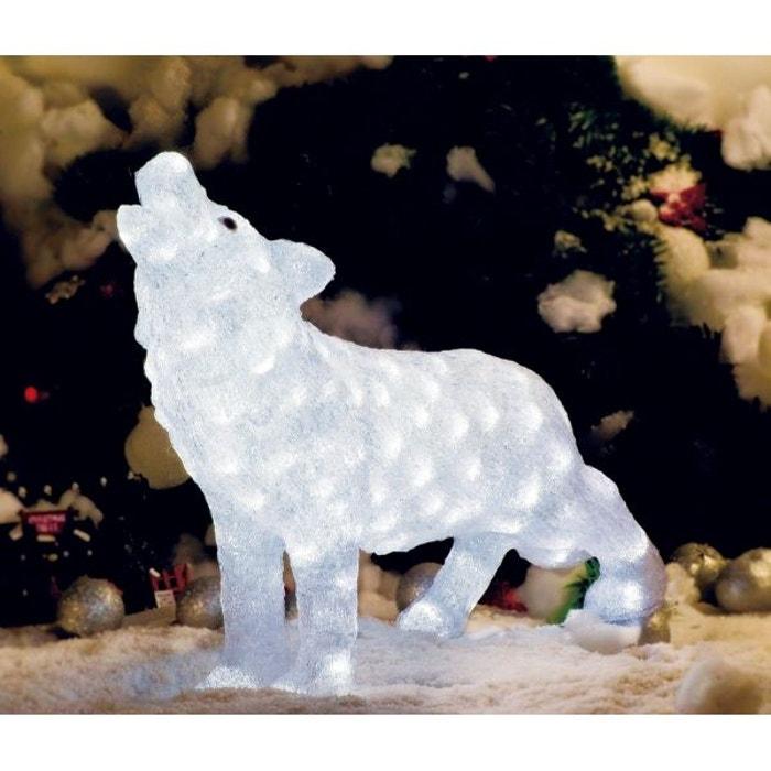 magnifique illumination de no l xl loup lumineux en acrylique 120 led blanches int rieur. Black Bedroom Furniture Sets. Home Design Ideas