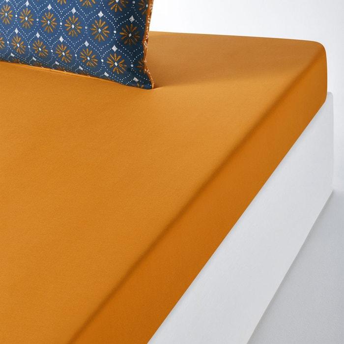 Drap housse uni coton lavé lonie ocre La Redoute Interieurs | La