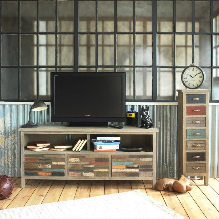 Meuble Tv Bois Colore 3 Tiroirs 2 Niches Dn En Soldes Bois