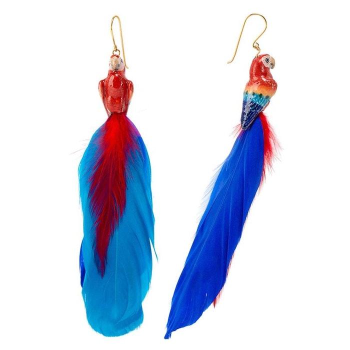 Boucles d'oreilles plumes perroquet rouge en porcelaine. rouge, bleu, doré Nach Bijoux   La Redoute