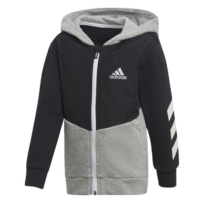 huge discount 3dd18 fc7a9 Sweat zippé à capuche 3 - 10 ans noir, gris Adidas Performance   La Redoute