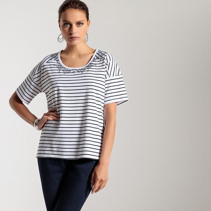 T-shirt a righe, scollo a V, maniche corte  ANNE WEYBURN image 0