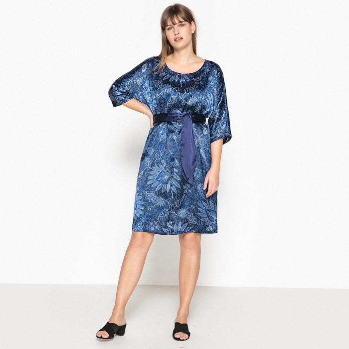 Satin Look Floral Print Dress with Tie Waist  CASTALUNA image 0