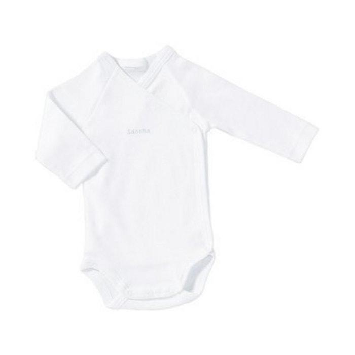 Sanetta body portefeuille à manches longues bébé blanc Sanetta  aee4f406a81