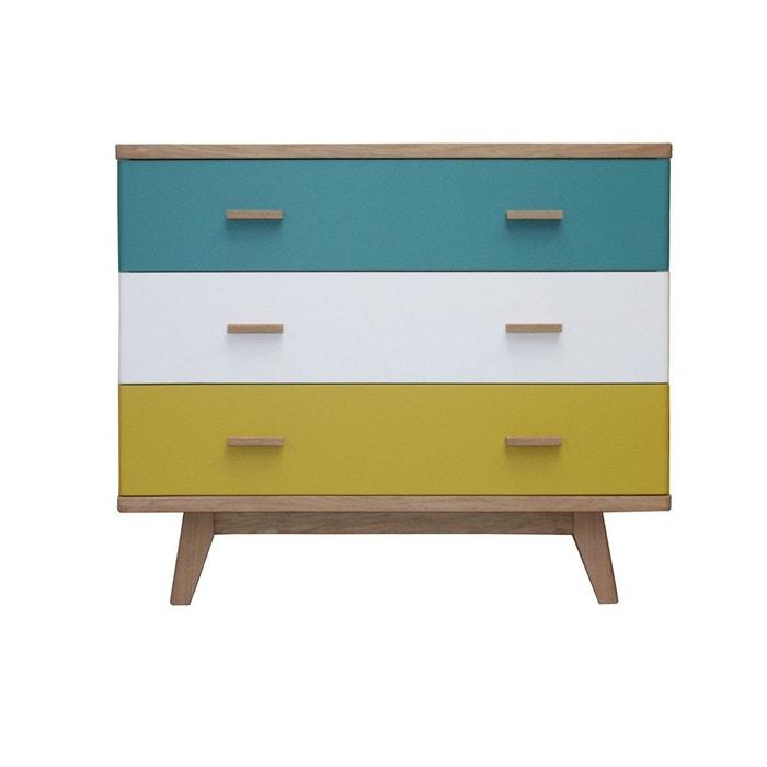 Commode 3 tiroirs ch ne massif et laqu bleu turquoise pirotais la redoute - Pirotais meubles ...