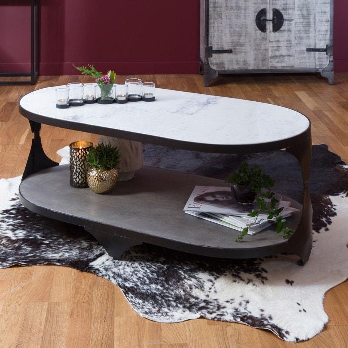 Table Basse Ovale Double Plateau Marbre Blanc Et Manguier Gris B58