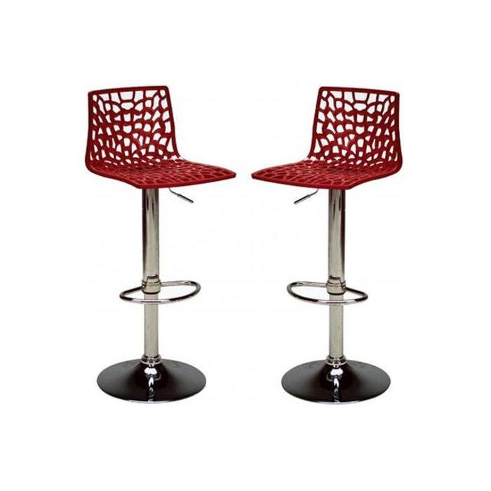 lot de 2 chaises de bar ajustables smart rouge declikdeco la redoute. Black Bedroom Furniture Sets. Home Design Ideas