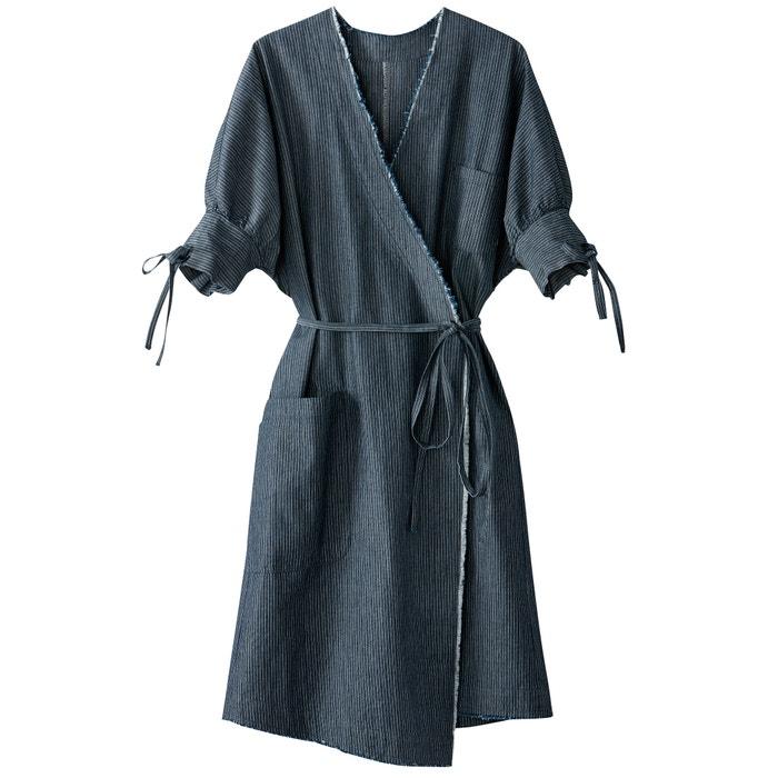 Vestido Collections Redoute rayas La de cruzado denim a Oaqnxx1Z