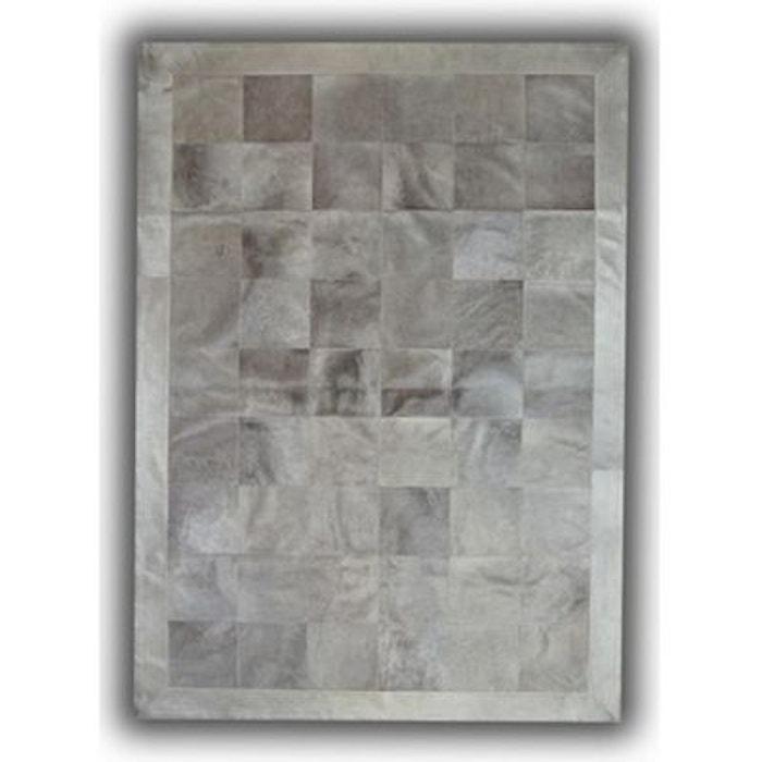 Tapis gris en cuir naturel patchwork burgos gris allotapis la redoute - Tapis en cuir patchwork ...