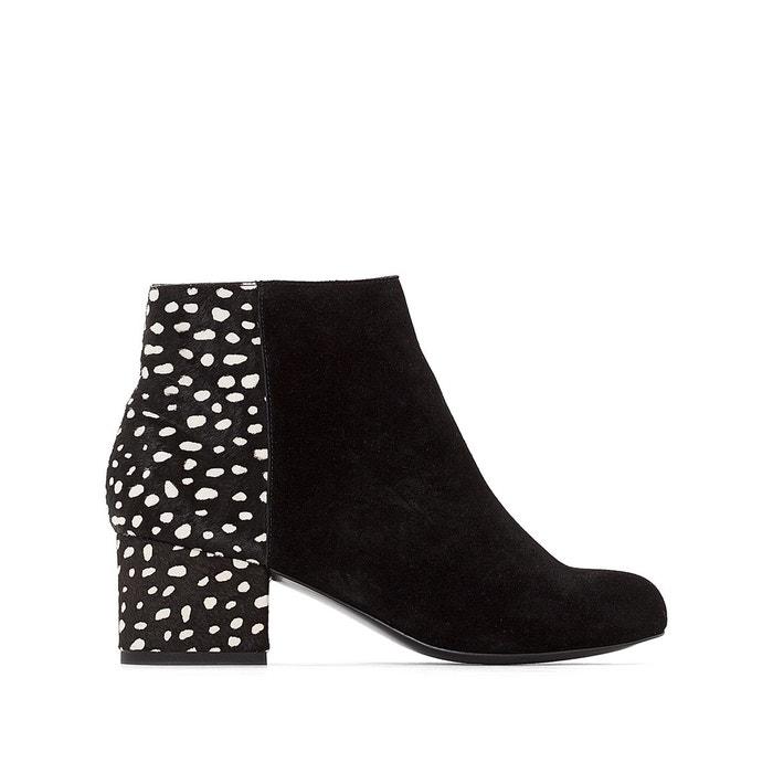 Boots cuir poils de vachette détail pois  noir Mademoiselle R  La Redoute