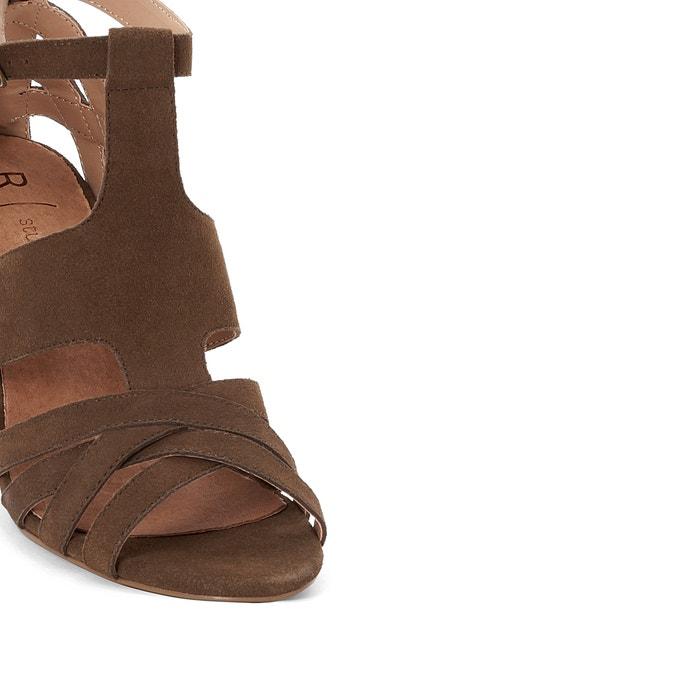 Suede Wood Effect Block Heel Sandals