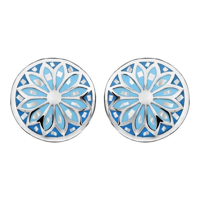 Boucles d'oreilles rond bleu ciel nacre blanche acier inoxydable couleur unique So Chic Bijoux | La Redoute Parcourir La Vente jGO0o9