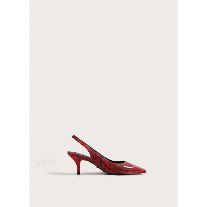 Chaussures à talon imitation serpent  rouge Violeta By Mango  La Redoute