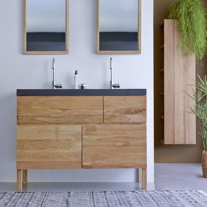 Meuble salle de bain en bois de chêne et pierre de lave 120 easy ...