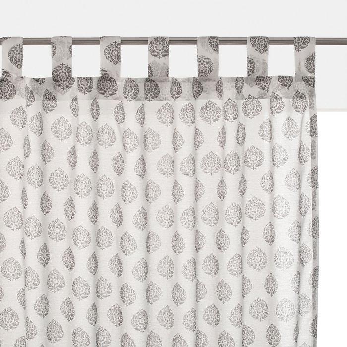 voilage voile de coton lambi imprim gris la redoute interieurs la redoute. Black Bedroom Furniture Sets. Home Design Ideas