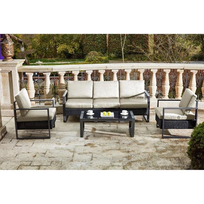 Salon de jardin santorin alu et r sine tress e blanc noir - La redoute table de jardin en resine tressee ...
