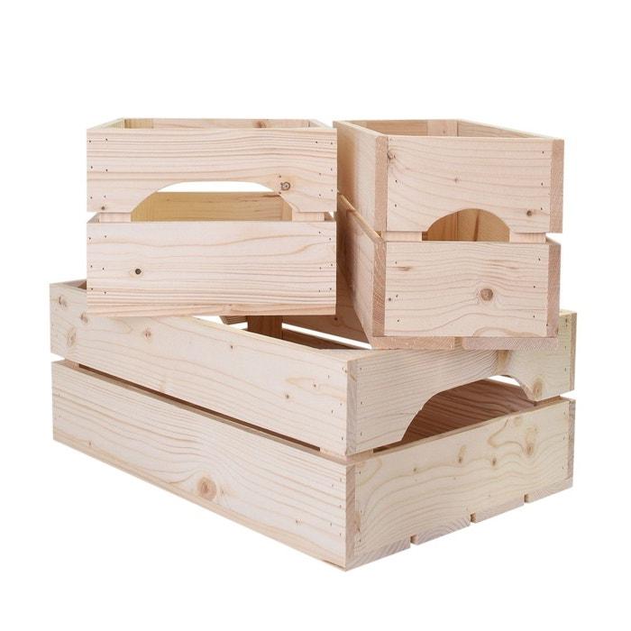 Lot de 3 caisses de rangement en bois profondeur 20 cm simply a box image 0