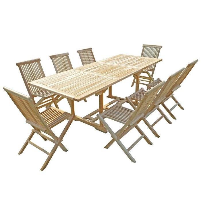Ensemble salon de jardin en teck amara 8 chaises naturel C Et L ...
