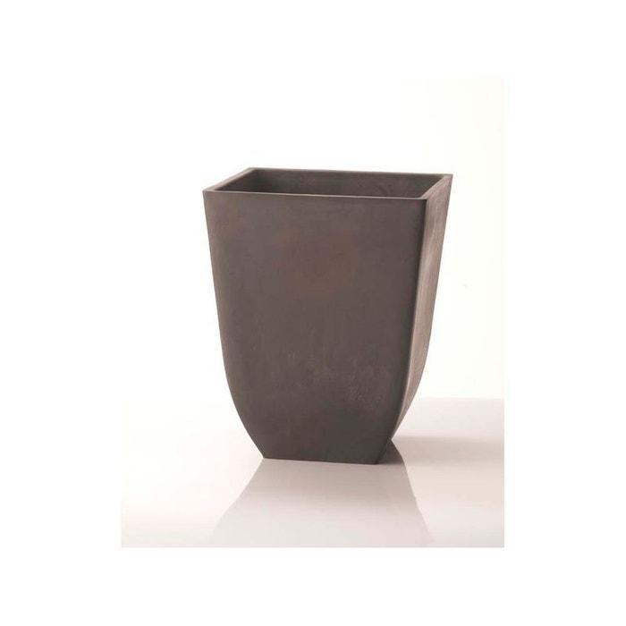 Pot carr chili 39 x 39 46 cm gris couleur unique for Pot jardin gris