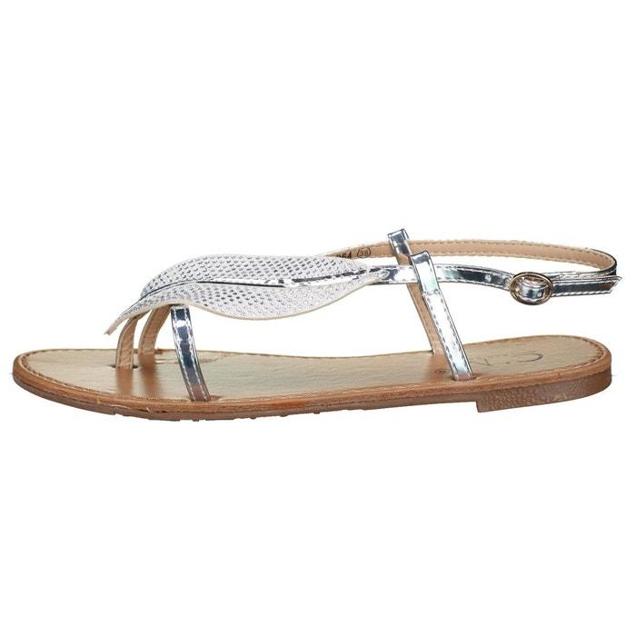 Sandales à détail plume gris Leader Mode