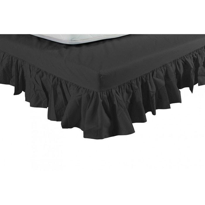 cache sommier noir int gral volants noir terre de nuit la redoute. Black Bedroom Furniture Sets. Home Design Ideas