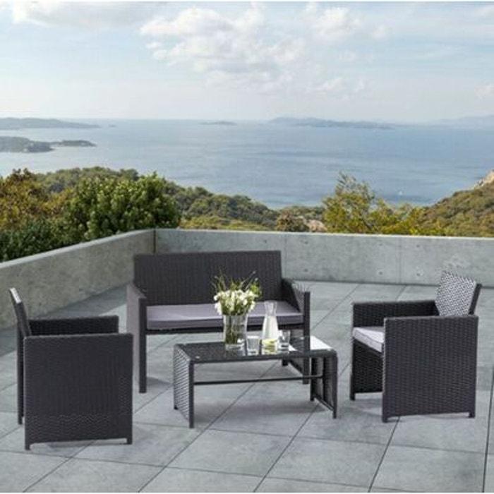 Salon de jardin lounge 4 places noir beige couleur unique lekingstore la redoute for Salon de jardin la redoute