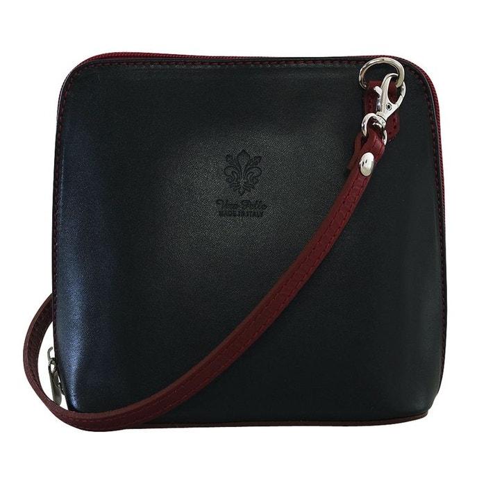 5a20195e3a Petit sac bandoulière bi color cuir noir Chapeau-Tendance | La Redoute