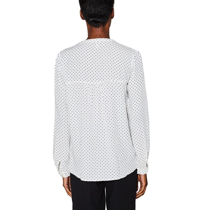 Polka Dot Print Blouse with Grandad Collar  ESPRIT image 0