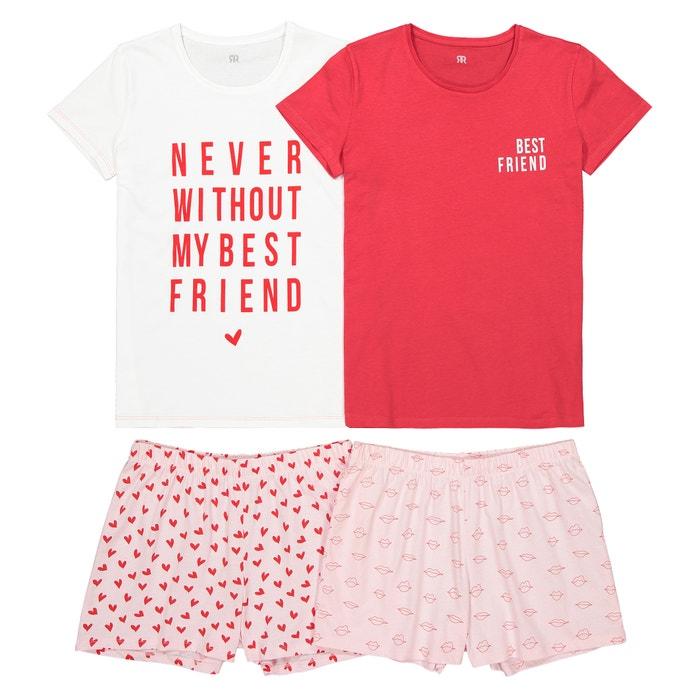 76688120f9a7aa Lot de 2 pyjashorts imprimés 10-16 ans La Redoute Collections rose   La  Redoute