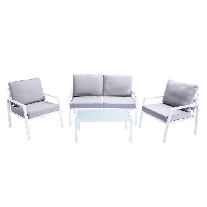 Salon de jardin en métal blanc avec table, banc et 2 fauteuils cala ...